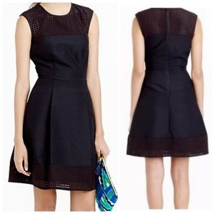 J. Crew perforated dress A-line black silk blend 8